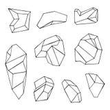 Stenen gefacetteerde vector geïsoleerd cobbles royalty-vrije illustratie