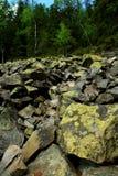 Stenen met mos en korstmos worden behandeld dat stock afbeeldingen