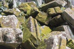 Stenen met mos worden behandeld dat Royalty-vrije Stock Foto's