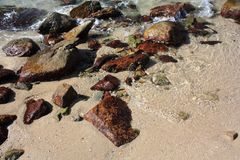 Stenen op het strand Royalty-vrije Stock Afbeeldingen