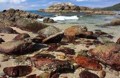 Stenen op tropisch strand royalty-vrije stock foto's