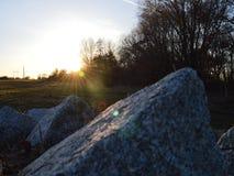 Stenen op weide in de lente stock afbeelding