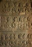 Stenen sned på väggen av Angkor Wat Arkivfoto