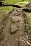 Stenen stenlade banan i en japansk trädgård, den stora ön, Hawaii royaltyfri bild