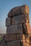 Stenen in Tughlakabad, Indische Architectuur Stock Afbeeldingen