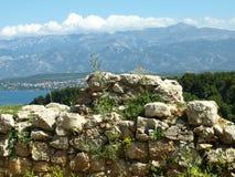 Stenen väggen, sten, ser, från, fortet, novigrad som är zadar fotografering för bildbyråer