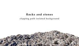 Stenenlandschap op witte achtergrond wordt geïsoleerd die Stock Foto