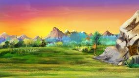 Stengrotta med berg i bakgrunden Arkivbilder