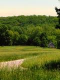Stenhus i avståndet i en gräs- äng arkivbilder