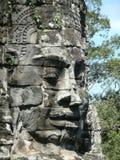 Stenhuvud i Angkor Wat, Cambodja Arkivfoton