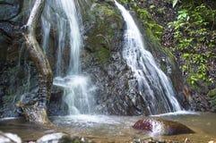 Stenig bäck-vattenfall med den lilla vattenhandfatet under arkivbild