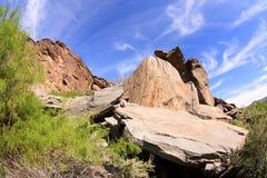 Stenig bergssida i Palm Springs Arkivbild