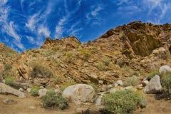 Stenig bergssida i Palm Springs Arkivfoto