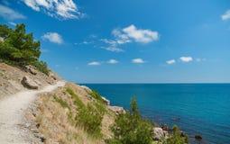 Stenig brant väg upp höjdpunkt i bergen, det gröna gräset på bakgrunden av blå himmel och molnen arkivbilder