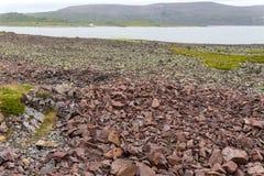 Stenig kust av det Barents havet, Varanger halvö, Finnmark, Norge Royaltyfri Bild