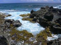 Stenig kust av påskön Arkivfoton