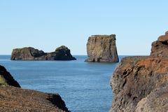 Stenig kust i Island. Royaltyfri Foto