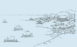 Stenig kust med gammalgrekiskabyggnader Vektorn skissar stock illustrationer