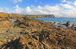 Stenig kust på Atlanticet Ocean, Frankrike Royaltyfria Bilder