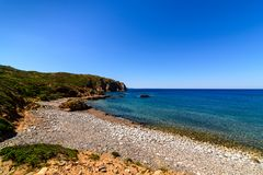 Stenig kust på capoen Pecora Buggerru Sardinia Italien Europa Fotografering för Bildbyråer