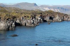 Stenig kust på västra Island. Arkivfoton