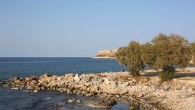 Stenig kustlinje av ett blått hav med olivträd och den forntida fästningen av Rethymno på den unfocused bakgrunden lager videofilmer