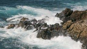 Stenig kustlinje av Lanzarote i kanariefågelöar, Spanien Royaltyfri Foto