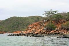 Stenig kustlinje i mochimanationalpark Royaltyfri Foto
