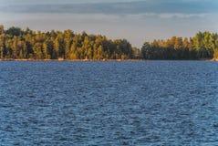 Stenig kustlinje med trän och blått Ladoga sjövatten Royaltyfria Foton