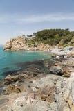 Stenig kustlinje på Taejongdaen Pebble Beach i Busan Fotografering för Bildbyråer