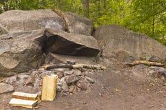 Stenig lägereldplats Arkivbilder