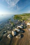 Stenig LakeHuron shoreline på den De Turnera delstatsparken Arkivfoto