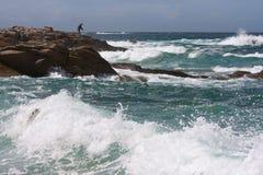 stenig man för brittany kustfiske Royaltyfria Bilder