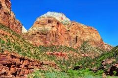 Stenig pittoresk utsikt av den Zion nationalparken, utah, enig statistik arkivfoto