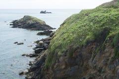 Stenig shoreline av hermen Arkivbild