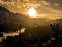 stenig solnedgång alpschamonix för franska berg royaltyfri foto