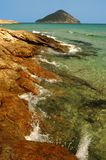 steniga thassos för strandgreece ö Arkivbilder
