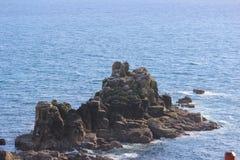 Stenigt berg i havet Arkivfoton
