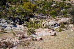 Stenigt flod- och berglandskap Arkivfoto
