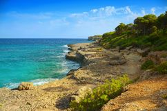 Stenigt havslandskap royaltyfria foton