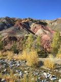 Stenigt landskap för marsinvånare på jord Altai fördärvar rött vaggar berg _ Ryssland royaltyfria bilder