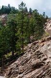 Stenigt landskap för sju nedgångar i Colorado Springs arkivbild