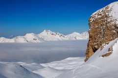 stenigt snöig för france berg Royaltyfri Fotografi