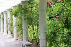 Stenkolonner och bänkar i rosträdgård Arkivfoto