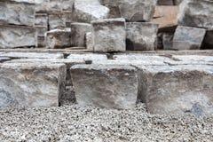 Stenlagd vägkonstruktion Royaltyfri Foto
