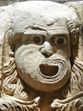Stenmaskering - forntida romersk teater för garnering i Demre Royaltyfria Bilder