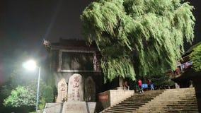 Stenmonument under de nattljuset och pilarna som blåsas av vinden royaltyfri foto