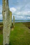 Stenness在奥克尼郡岛,苏格兰向圈子视图扔石头 库存图片