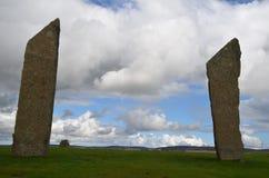 Stenness常设石头,新石器时代的巨石在大陆奥克尼,苏格兰海岛  免版税库存图片