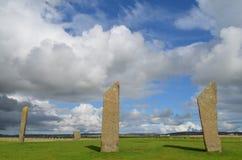 Stenness常设石头,新石器时代的巨石在大陆奥克尼,苏格兰海岛  免版税图库摄影